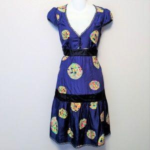 Anthropologie Maeve Silk Lighthouse Blue Dress 10P